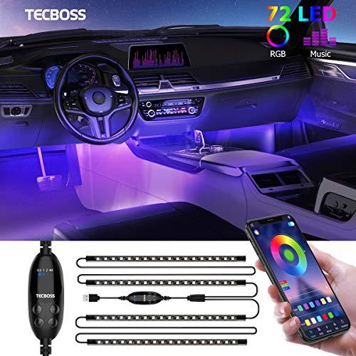 Striscia LED Auto Con APP, TECBOSS Luci LED Interne per Auto Con 72 perline a LED Che Lampeggiavano Con Ritmo Sonoro Musicale, Un Nascosto Luci Abitacolo Auto Il Controller APP