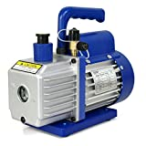 ZENY 3,5CFM Single-Stage 5 Pa Rotary Vane Economy Vacuum Pump 3 CFM 1/4HP Air Conditioner Refrigerant HVAC Air Tool R410a 1/4' Flare Inlet Port, Blue