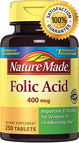 Acido Folico de Nature Made | Suplemento | Para Mujeres en Edad Fertil | 400 mcg | 250 Tabletas