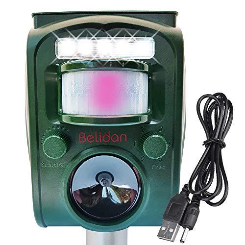 Animal Deterrent Device Solar Powered with Motion Sensor LED Lights and Alarm - Animal Repellent Ultrasonic Outdoor Animal Repeller - Dog Rat Raccoon Repellent Deer Skunk Repellent Mice Cat Repellent