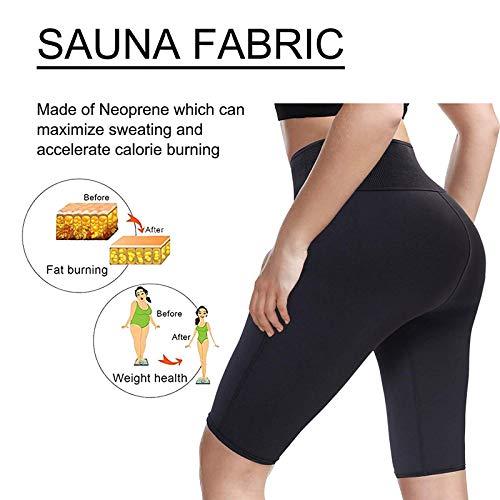 LODAY Neoprene Sauna Shorts with Pocket for Women Weight Loss Sweat Pants Workout Body Shaper Yoga Leggings (Black, XL) 3