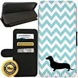 Flip Wallet Case for iPhone 7 Plus (Chevron Dachshund) with Adjustable Stand and 3 Card Holders | Shock Protection | Lightweight | by Innosub