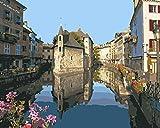 AOlsyh Casco Antiguo del Canal Alpino DIY Pintura Digital de Bricolaje Kit Digitale in Tela di Lino Stampe su Tela decorazione Della casa dell'artista 40x50cm Frameless