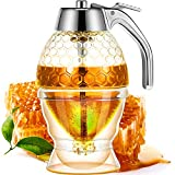 Acrylic Honey Dispenser with Stand Honey Container, Syrup and Sugar Jar Pot, No Drip Honey Dispenser with High Capacity