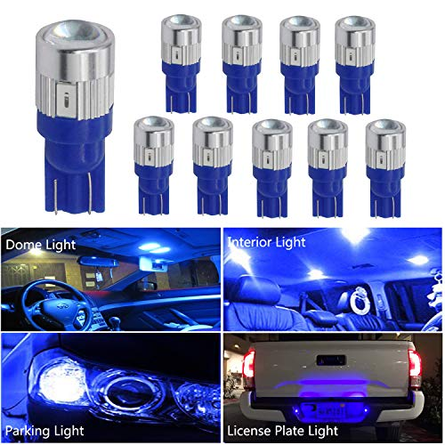 HOCOLO 10x T10 198 194 168 912 921 W5W 2825 Blue Color Color High Power LED Bulbs For Interior Dome/Map/License Plate/Parking/Door/Trunk Lights (10pcs T10 6-SMD, Blue)