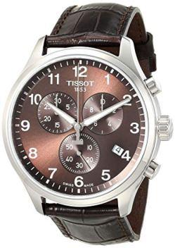 Tissot Men's Chrono XL Stainless Steel Swiss Quartz Sport Watch with Leather Calfskin Strap, Brown (Model: T1166171629700)