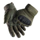 FREETOO Tactical Gloves Military Rubber Hard Knuckle Outdoor Gloves (Black Full Finger, L)