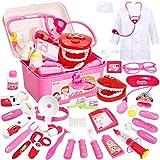 Buyger 35 Piezas Maletin Medicos Juguetes Doctora Dentista Botiquin Enfermera Kit Juego de rol 3 4 5 Niñas Ninos Infantil (Rosa)