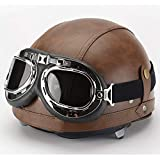 LALEO Retro Harley PU Leather Open Face Motorcycle Helmet, Half Helmet with Harley Goggles Scarf Breathable Keep Warm Detachable Four Seasons for Couple Adults Men & Women M-XL (55-62cm),Brown,L