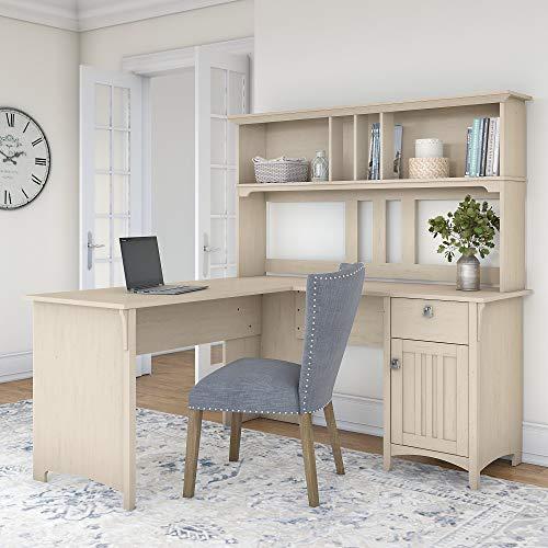 Bush Furniture Salinas 60W L Shaped Desk with Hutch in Antique White