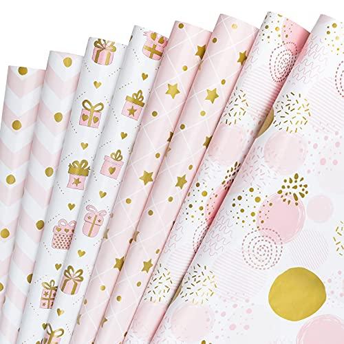 RUSPEPA Foglio Di Carta Da Regalo - Piegato Piatto - 8 Fogli - 4 Diversi Motivi In Oro Rosa (29,9 Piedi Quadrati) - 50 cm X 70 cm Per Foglio