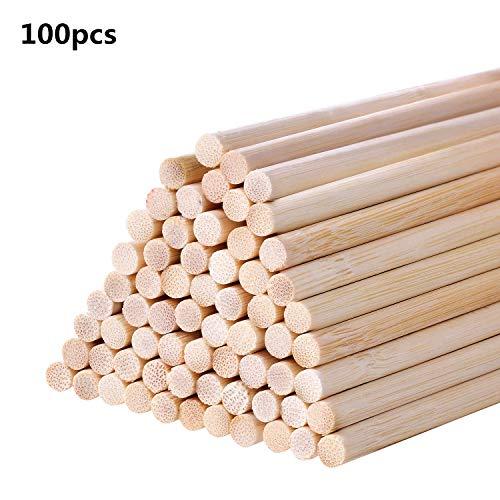 BOSSTER Holzstäbe 100 teilige Holzstäbchen 15 * 0.5cm Holzstab Bastelhölzer für DIY Handwerk Modellprojekte Die Gebäude Modell Kinder Lernspielzeug