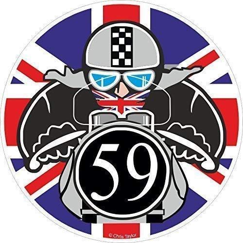 Retro Cafe Racer Tonelada para Arriba Motociclista Redondo Diseño con Union Jack Vinilo Coche Moto Adhesivo para Casco 90x90mm