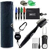 Golf-EZ Golf Essentials 21 Piece Kit | Microfiber Towel | Retractable Cleaning Brush | Divot Repair Tool | Golf Ball Alignment Marking Tool