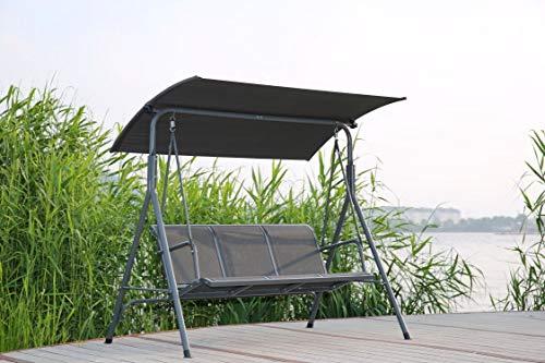 Angel Living SW-037T-G Hollywoodschaukel Gartenschaukel 3 Sitzer mit Sonnenschutz aus Stahl