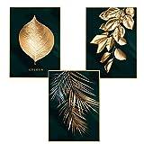 Martin Kench Lot de 3 affiches murales design avec motifs forêt, feuille dorées, palme, sans cadre, décoration murale pour le salon