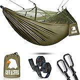 COVACURE Camping Hamac Set avec Moustiquaire, 2 Sangles D'arbres Carabiners Cordes Double Portable...