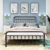 Metal Bed Frame Queen Size Steel Slats Platform Base Box Spring Replacement Foundation with Headboards & Heavy Duty Steel Slats for Living Room Guest Room