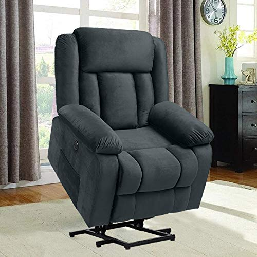 Electric Lift Chairs Recliners for Elderly, Power Recliner Chair, Velvet Home Theater Massage Recliner Sofa Chair with Heated Vibration, Lumbar Pillow/Side Pockets/USB Ports/Massage Remote Control