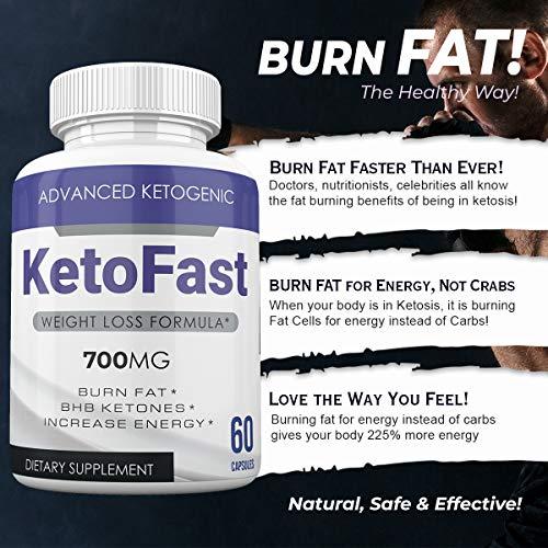 Keto Fast - Advanced Ketogenic Weight Loss Formula - 700MG - Burn Fat - BHB Ketones - Increase Energy - 60 Capsules - 3 Month Supply 7