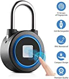 Fingerprint Padlock, Bluetooth Connection Metal Waterproof, Suitable for House Door, Suitcase, Backpack, Gym, Bike, Office, APP is Suitable for Android/iOS, Support USB Charging
