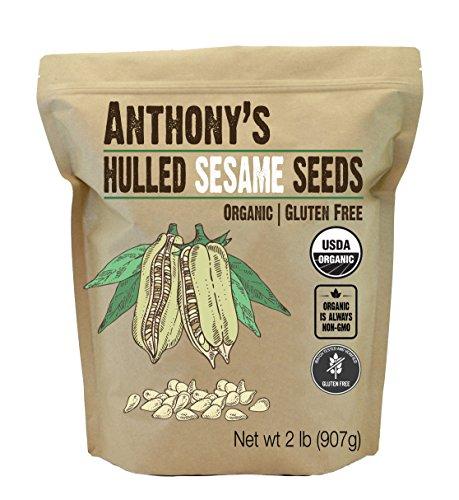 Anthony's Organic Hulled Sesame Seeds, 2 lb, White, Raw, Gluten Free, Non GMO, Keto Friendly