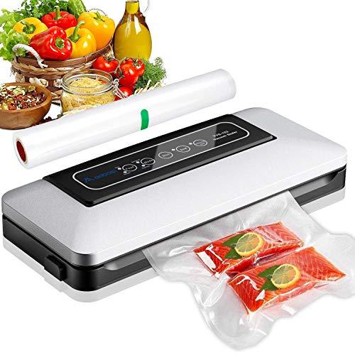 Aobosi Vakuumierer-Vakuumiergerät 5 In 1 automatische Lebensmittel Versiegelung für Trockene und Feuchte Lebensmittel,mit Starter-Kit von 28x300cm Vakuum-Rolle und Vakuum-Schlauch für Vakuumbehälter