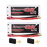 GARTPOT 5200mAh 2S 50C 7.4V LiPo Battery Pack Hard Case with Deans T Plug for RC Vehicles Car Truck Truggy Boat Airplane Drone (2 Packs)
