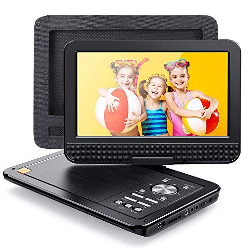APEMAN 2021 Upgrade 12.5' Portable DVD Player with 10.5' HD Swivel Screen, 6 Hour Rechargeable Battery for Car/Kids, Car Headrest Mount Case, Support USB/SD Card/Sync TV and Multiple Disc Formats