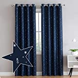 Vandesun Blue Foil Print Star Thermal Insulated Blackout Window Curtains for Living Room, Bedroom and Kids Room - 2 Panels (52 × 95 inch, Blue)