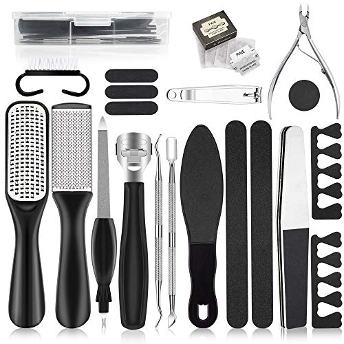 Pedicure Kit 20 in 1, Foot File Set, Stainless Steel Foot Care Kit, Callus and Dead Skin Remover Foot Rasp Peel, Pedicure Tools for Women Men Salon Home