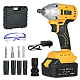 GardenJoy 21V MAX Power Impact Wrench Cordless Brushless 1/2 in.Impact Driver/Drill with 2200RPM Variable Speed,4.0A Li-ion Battery,Max Torque 260 ft-lbs,Fast Charger and 10PC Tools -5 Years Warranty