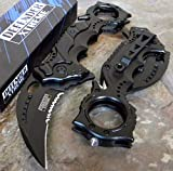 [AJSHEARS] 8' TACTICAL Black Spring Assisted Rescue Pocket Knife - [8430]