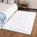 Ophanie Machine Washable Fluffy Area Rugs for Bedroom, Ultra-Luxurious Soft and Thick Faux Fur Shag Rug Non-Slip Carpet for Kids Baby Room, Nursery Modern Decor Rug, 3x5 Feet White