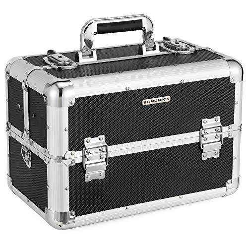 SONGMICS Kosmetikkoffer schminkkoffer XXL groß für Gepäck, Alu multikoffer etagenkoffer mit Tragegurt 36,5 x 22 x 25 cm, Schwarz JBC228