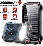 Chargeur Solaire 26800mAh Batterie Externe Portable QI Power Bank sans Fil...