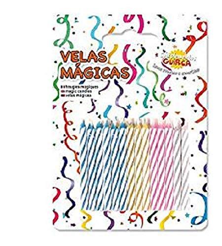 hojas, 24mágicas de colores con llama que no se, apagado, velas expositor para Cumpleaños y fiestas, broma divertido, Multicolor, 32500