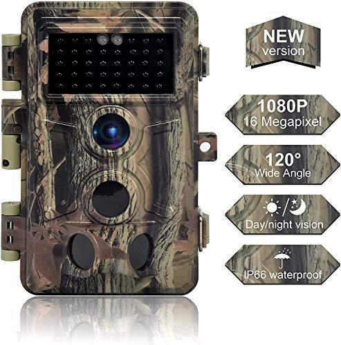 DIGITNOW! Fotocamera da Caccia 16MP 1080P HD Impermeabile, 120°Ampia visuale Fototrappola Infrarossi Invisibili 40 IR LED, Macchine fotografiche da caccia Visione Notturna fino a 20m