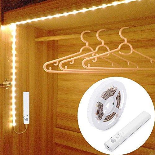 45LED 150cm Luce LED da guardaroba con sensore di movimento,Strisce Led Luce Notturna,LUXJET Sensori Di Movimento Luce Notturna,batteria caricata per Armadi, Armadietti