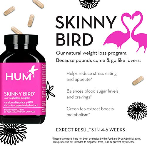 HUM Skinny Bird - Weight Management Support Supplement - Green Tea Extract, 5-HTP, Chromium & Caralluma Fimbriata Boost Metabolism, Help Minimize Stress Response & Curb Appetite (90 Vegan Capsules) 4