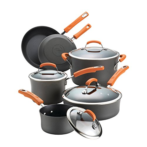Rachael Ray Brights Hard-Anodized Aluminum Nonstick Cookware Set with Glass Lids