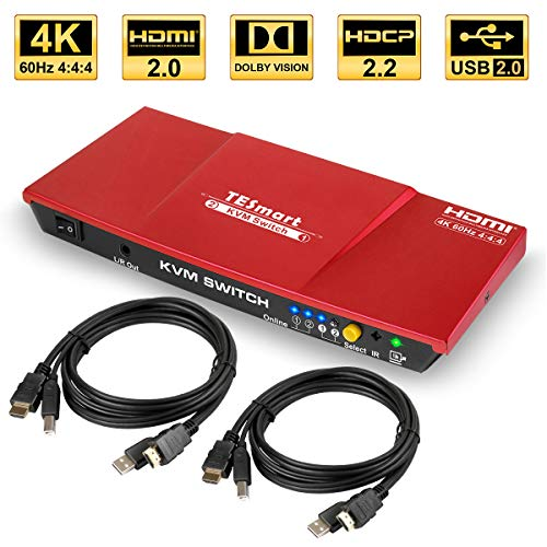 TESmart 2fach HDMI KVM Switch – 4K Ultra HD mit 3840 x 2160 bei 60 Hz 4:4:4;2 Stck 5ft/1,5m KVM-Kabel unterstützt USB 2.0 Gerätebedienung bis max.2 Computer/Server/DVR (Rot)