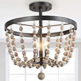 Bead Ceiling Light Fixture, Farmhouse Semi Flush Mount Chandelier with Wood Beaded, for Entryway, Foyer, Bedroom, D16''×H17''