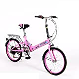 HIKING BK 20-inch Folding Bike 6-Speed Cycling Commuter Foldable Bicycle Women's Adult Student Car Bike Lightweight Aluminum Frame Shock Absorption-A 110x160cm(43x63inch)