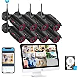 [All-in-One] Wireless Home Security Camera System with 15.6 Inch Monitor,ANRAN 8pcs 2MP Outdoor Home Surveillance Video WiFi Security Camera, 8CH NVR Built-in 2TB HDD, Night Vision Motion Detection