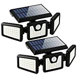Solar Lights Outdoor with Motion Sensor, 3 Heads Security Lights Solar Powered, 118 LED Flood Light Motion Detected Spotlight for Garage Yard Entryways Patio, IP65 Waterproof 2 Pack