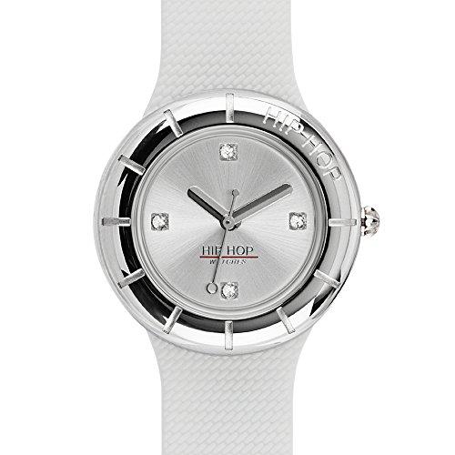 Orologio HIP HOP donna METAL quadrante argento e cinturino in silicone, metallo bianco, movimento...