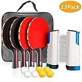 Xddias Raquette de Ping Pong Professionnel Set, 4 Raquette de Tennis de...
