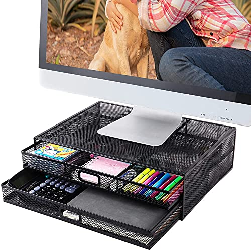 Monitor Stand Riser with Drawer- Metal Mesh Desk Organizer with Dual...