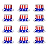 (12 Pack) Patriotic July 4th USA Top Hats for Adults and Kids